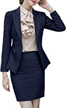 SUSIELADY Women's Office Work Suits Sets 2 Pieces Black Blazer Skirtsuits for Work Lady