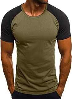 Men's Casual Raglan Block Short Sleeve T-Shirts Slim Fit Stretch Crew Neck Wicking Baseball Tee Tops