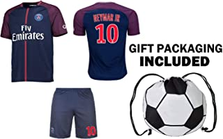 Neymar Jr #10 / Cavani #9 Soccer Jersey & Shorts Youth Kids Home or Away Short or Long Sleeve Premium Gift Set