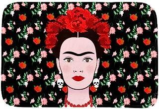 EGGDIOQ Doormats Frida Kahlo with Mexican Earrings Skulls Custom Print Bathroom Mat Waterproof Fabric Kitchen Entrance Rug...