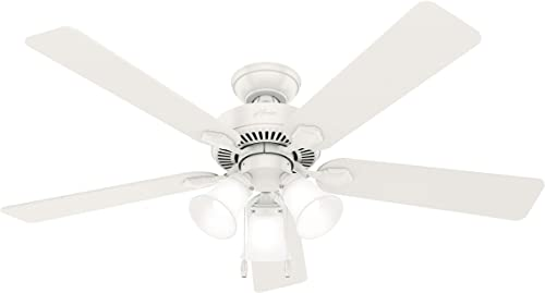 """new arrival Hunter Swanson Indoor Ceiling Fan with LED Lights and Pull Chain Control, 52"""", lowest Fresh lowest White outlet online sale"""