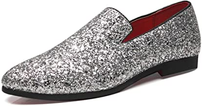 Men's Loafer Flats Microfiber Leather Shoes Leisure Driving Loafers for Men Smoking Slippers Penny Slip-On Glitter Sequins Pointed Toe Shoes Non-slip Lightweight (Color : Silver, Size : 48 EU)