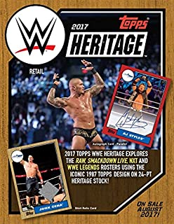 Topps 2017 WWE Heritage Wrestling Retail Box (24 Count), Black, 5