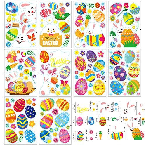 Fenstersticker, Aufkleber Ostern Set Fensterdekoration Ostern, Fensterbilder Häscheneier Frühlings Ostern, Klammert Sich an Aufkleber Hase Ostereier,Fensterbilder Für Dekorieren