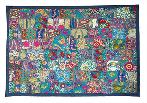Rastogi Handicrafts - Tapiz para colgar en la pared, diseño de mosaico indio hecho a mano, color azul, 40 x 150 cm