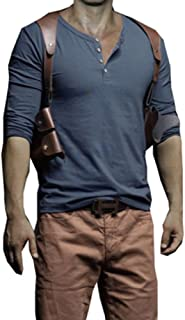 Elegant Men's Casual Long Sleeve Uncharted 4 Tee Crewneck T-Shirt with Solid Color
