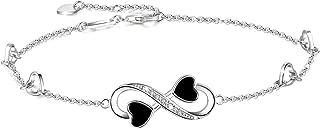 OneSight Infinity Ankle Bracelet for Women,925 Sterling Silver Charm Adjustable Anklet, White Rose Gold Colors