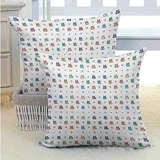 Living Room Sofa Hug Pillowcase Kids,Owl Motif with Spiral Circles and Big Eyes Night Animal Nursery Baby Playroom Concept, Multicolor W18 x L18 inch x 2