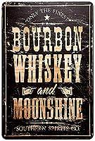 RCY-T Retro 金属錫サイン Bourbon Whiskey Moonshine Vintage Weathered Wall Decor Bar Man Cave 8 x 12 inches