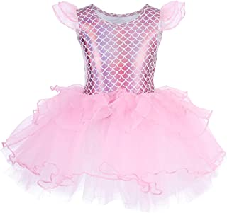 Toddler Kid Girls Fly Sleeve Ballet Tutu Dress Mermaid Scale Skirted Leotard Princess Ballerina Dance Ice Skate Costume