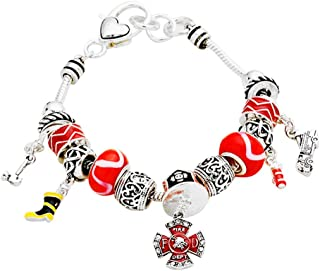 Firefighter Fire Department Theme Charm Bracelet with Gift Box