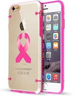 For Apple iPhone Hybrid Slim Clear Hard TPU Bumper Case Cover Breast Cancer Color Awareness Ribbon (Hot Pink For iPhone 6 Plus / 6s Plus)