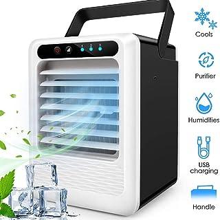SHYNAN Mini Climatizador Portatil Evaporativo Air Cooler,3 En1 Ventilador Humidificador Mini Aire Acondicionado Frio Silencioso,3 Velocidades, Depósito De Agua De 400 Ml,para Coche Casa Oficina