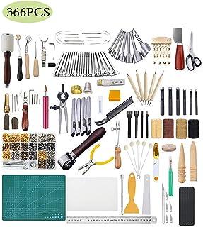 JFZS 366PCS Kit De Gravure sur Cuir Outils Et Fournitures en Cuir Fournitures De Kits De Travail en Cuir pour Couture Poin...