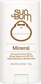 Sun Bum Mineral SPF 50 Sunscreen Face Stick | Vegan and Reef Friendly (Octinoxate & Oxybenzone Free) Broad Spectrum Natural Sunscreen with UVA/UVB Protection | .45 oz