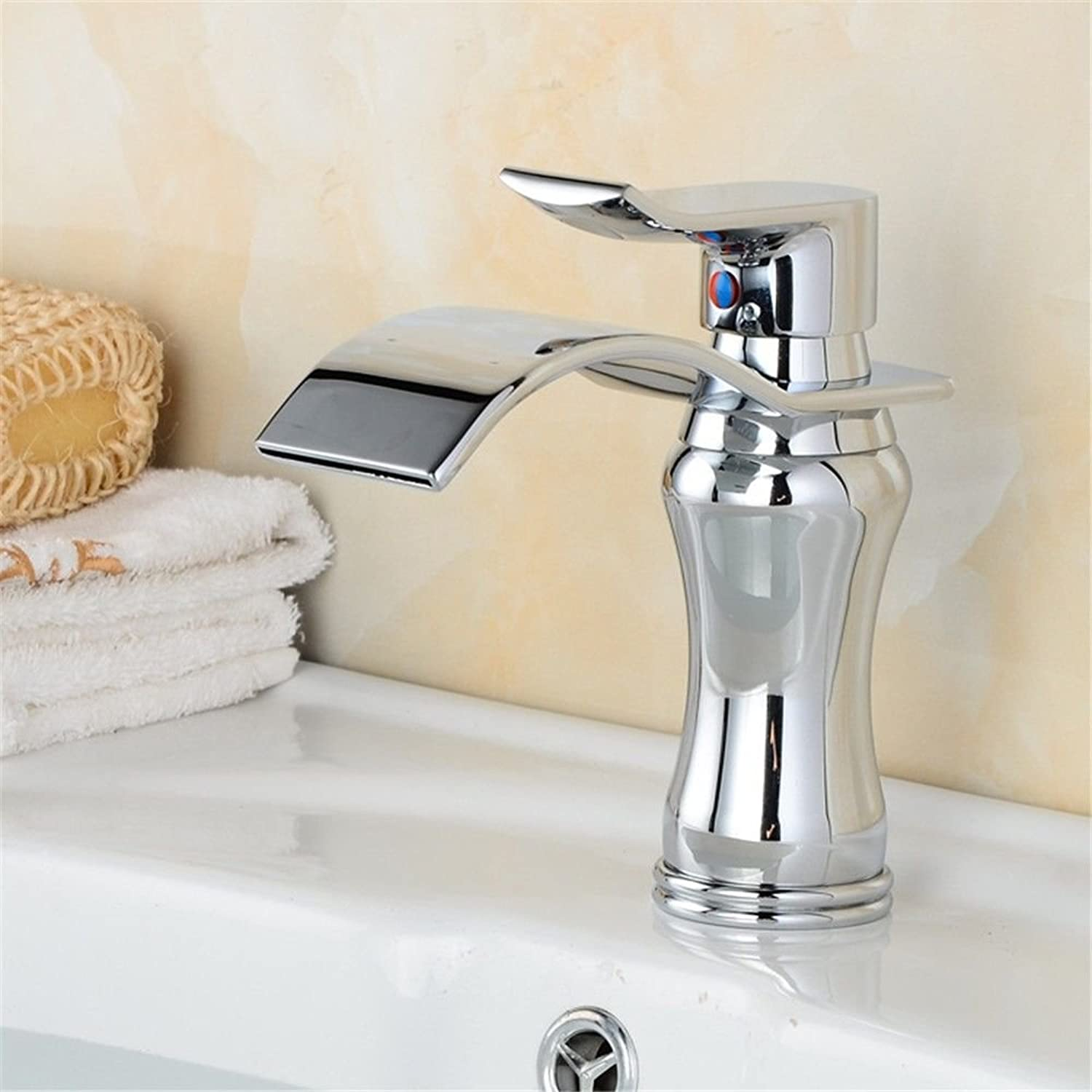 LHbox Basin Mixer Tap Bathroom Sink Faucet Wash Basin Mixer Taps full copper hot and cold basin waterfall faucet bathroom vanity table basin brushed the high, low, chrome plated