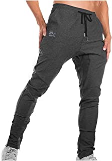 BROKIG Mens Gym Joggers Sweatpants, Causal Slim Fit Running Trousers Tracksuit Jogging Bottoms with Double Pockets