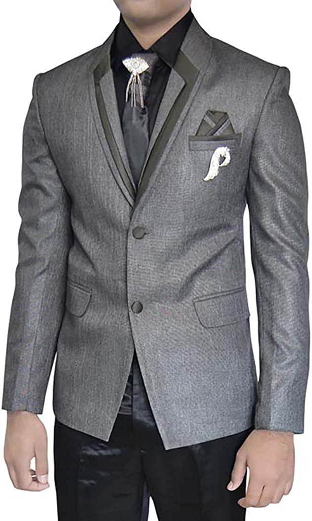 INMONARCH Mens Gray Polyester 7 pc Tuxedo Suit Designer Lapel TX011297