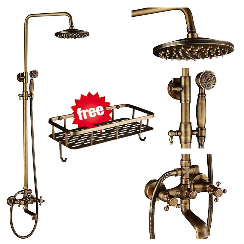 SMEI Antike Messing Dusche Wasserhhne Set 8 Regen Dusche Commodity Shelf Dual Handle Mixer Tap Schwenkwanne Spout Bad Dusche Typ A