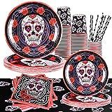 FORMIZON Lot de Vaisselle d'Halloween, 121 Oièces Thème Squelette Assiettes, Gobelets en Papier, Pailles, Serviettes et Nappe à Thème d'Halloween, Halloween Fête Fournitures pour 24 Personnes