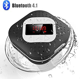 Waterproof Bluetooth Shower Radio Speaker with LED Screen, AGPTEK Hands-Free Portable Wireless Speaker with Suction Cup, B...