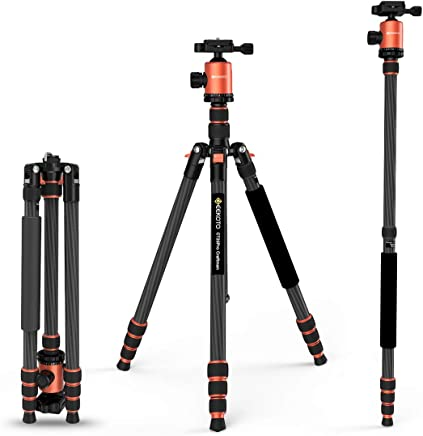GEEKOTO 79 inches Carbon Fiber Camera Tripod Monopod with...