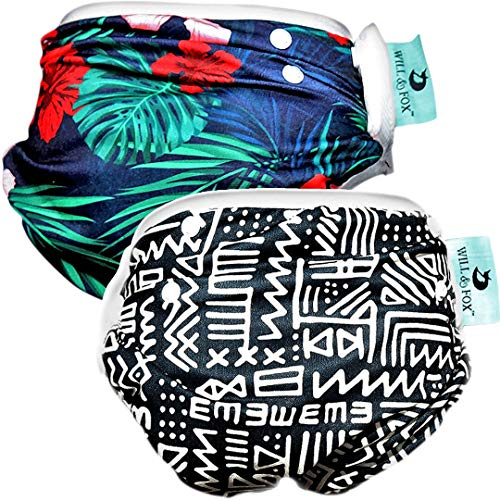 Reusable Swim Diapers for Boys by Will & Fox   Adjustable Snaps for Babies & Toddlers - 0-2 Years   Eco-Friendly Washable Swimming Diaper – Zigzag & Hawaiian – 2 Pack