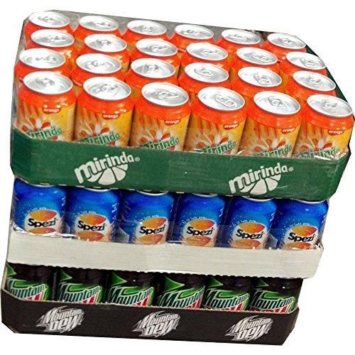 Mirinda Orange, Spezi Cola & Mountain Dew Classic je 24 x 0,33l Dose XXL-Paket (72 Dosen gesamt)