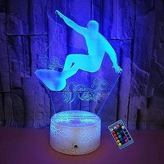 Illusion Optique 3D Surf Nuit Lampe 16 Couleurs Changeantes Puissance USB Télécommande Contact Switch Lampe Décorative LED...