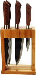 Royalford 9pc Block, Stainless Steel, Black, 9 Piece Knife, Kitchen Knife Utensil Set, Global Knives and Knife Block