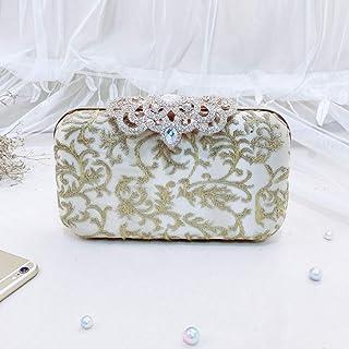 Vintage Women's Clutch, Evening Bag, Shoulder Bag, Suitable for Weddings, Parties, Graduation Ceremony (Color : White)