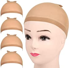 FANDAMEI 4 pieces Light Brown Stocking Wig Caps Stretchy Nylon Wig Caps for Women