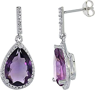 10K White/Yellow Gold Diamond Halo Natural Color Gemstone Dangle Earrings Pear Shaped 12x8 mm