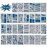 Farram 30pcs Journal Painting Stencil Set(No Duplicate) - 4x7 Inch Bullet Journal Stencils for Notebook,Diary ,Scrapbook DIY Drawing etc