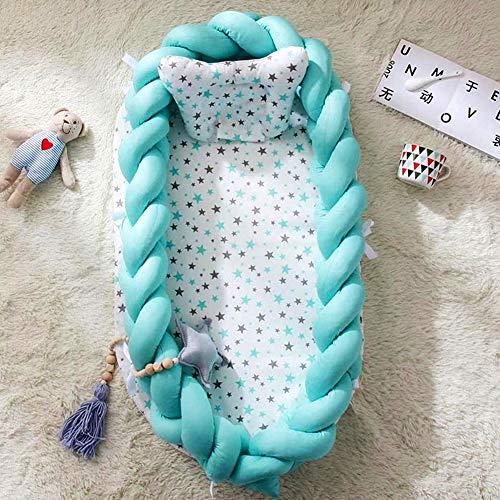 Baby Kissen Bett Nest Baumwolle Baby Stubenwagen Liege Krippen tragbare Kinderbett abnehmbare Cocoon Schlafen Pod,Blau