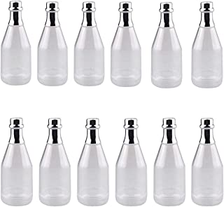 CrazyStorey Clear Champagne Bottle, Plastic Wine Bottle Style Candy Box for Wedding Party DIY Decor-12pcs