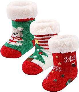 JNUYISW Baby Christmas Socks,Baby Socks Non-Skid 0-3 Years Newborn Unisex Baby Socks Floor Child Socks With Grip 4 Pairs