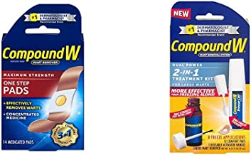 Compound W Wart Maximum Strength Remover One Step Pads - 1 Box of 14 Pads and Compound W Wart Removal System 2-in-1 Treatment Kit