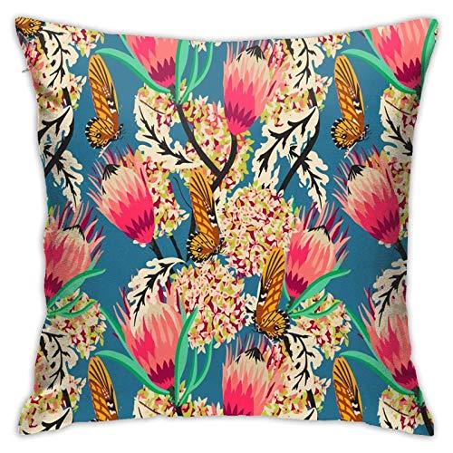 Madamoiselle Chateau - Funda de almohada moderna con diseño de mariposas, decoración cuadrada para sofá, cama, silla, coche, 45,7 x 45,7 cm