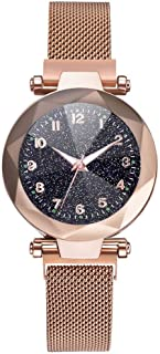 2019 Womens Starry Sky Convex Glass Alloy Mesh Band Magnetic Buckle Ladies Quartz Analog Watch by Balakie