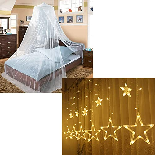 discount Twinkle Star Bed lowest online Canopy (White) 138 LED 12 Stars String Lights online
