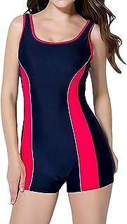 TieNew Womens One Piece Boyleg Swimsuit Sports Swimwear Beachwear Athletic Swimming Costume, One Piece Swimsuit Boyleg Spo...