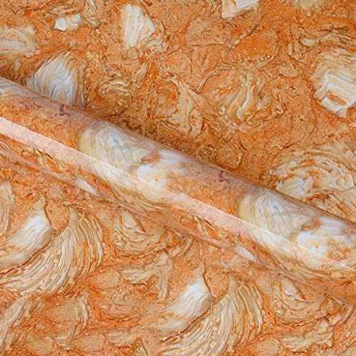 Yubingqin Cuarto de baño Cocina Impermeable Autoadhesivo Tela Escocés Papel de Pared Impermeable Pegatinas de lámina Anti-Aceite Wrap Tile Pegatinas de Pared para el hogar (Color : Orange)