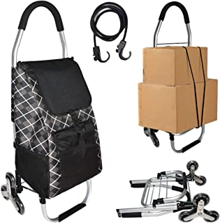 Foldable Shopping Cart on 6-Wheels, Stair Climbing Shopping Cart, Black Grocery Cart with Stainless Aluminum Frame and Rem...