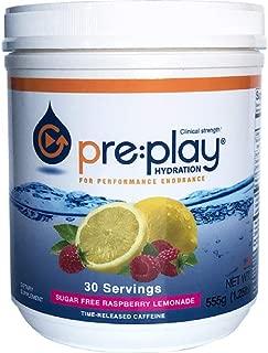 Pre:Play Hydration and Energy Drink Powder, Raspberry Lemonade - 555g tub, 30 servings