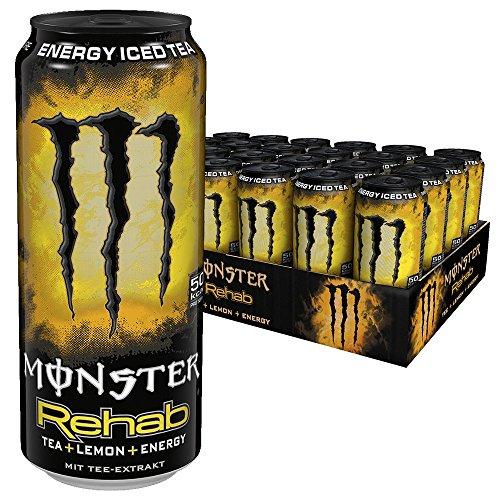 Monster Energy Flavour Rehab Lemonade mit Tee Extrakten & Lemon Geschmack - ohne Kohlensäure, 2in1 Energie Getränk & Eistee!, Energy Drink Palette, EINWEG Dose (24 x 500 ml)