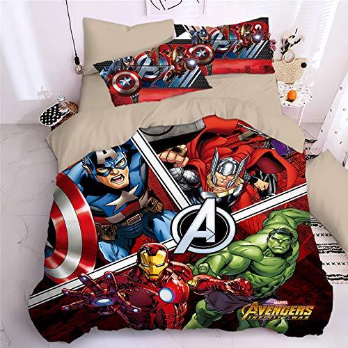 BLSM Marvel Hero Spiderman Bettbezug, Comics Captain America Hulk Muster Mikrofaser Bettwäsche-Set für Kinder Erwachsene (E,135 x 200)