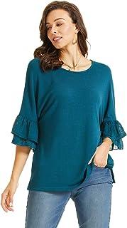 SONJA BETRO Women's Knit Pleated Chiffon Sleeve Tunic Plus Size