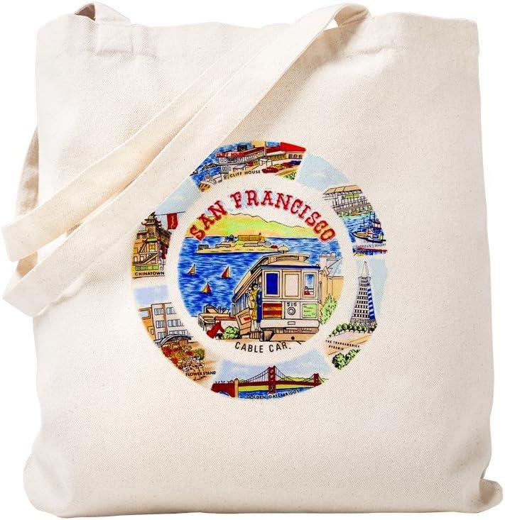 CafePress Vintage San Francisco Souvenir Graphics Tote Bag Natural Canvas Tote Bag, Reusable Shopping Bag