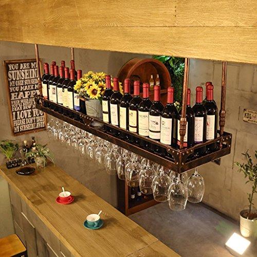 WURE Portabottiglie rovesciabile Porta Ferro battuto a Muro Portabicchieri pensile Europeo Portabottiglie da Vino Altezza Regolabile Bar Bicchieri da Vino a casa Mensola Ornamenti creativi Calice